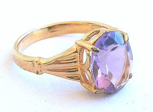 18 kt. Yellow gold - Ring - 3.50 ct Amethyst