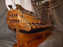 Models of sailing ships of the 17-18th century handmade from